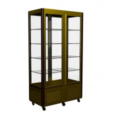 Витрина-шкаф R800C Сarboma Люкс (D4 VM 800-1 (корич-золотой, 1/2, INOX)