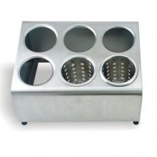 Диспенсер для емкостей для столовых приборов 6 отв., две линии, нерж.сталь