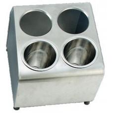 Диспенсер для емкостей для столовых приборов 4 отв., две линии, нерж.сталь
